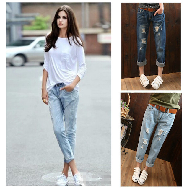 4c85adb5192 2015 Summer Style Women Denim Roll Up Cuffs Pants Retro Vintage Loose Hole  Jeans Washed Cotton