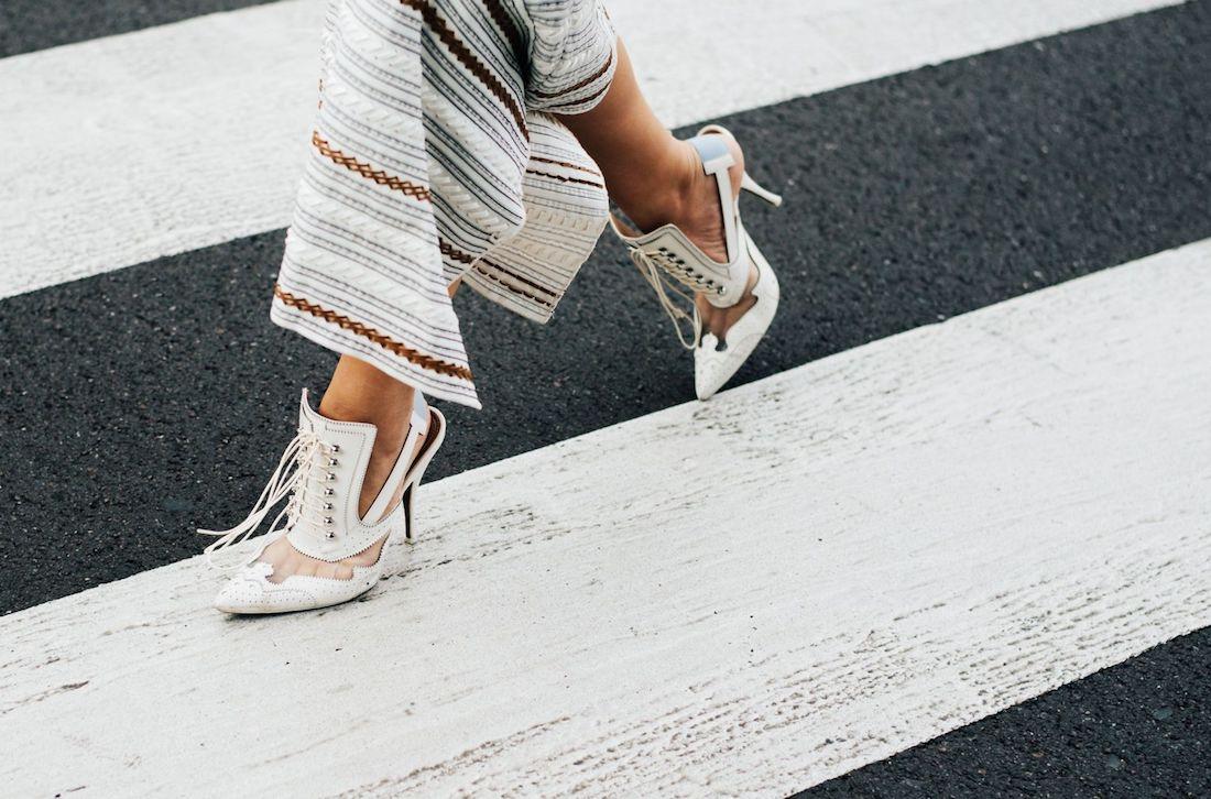 street style high heels asymetric skirt