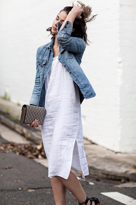 harper and harley white matin linen dress denim shirt gucci bag street style 1
