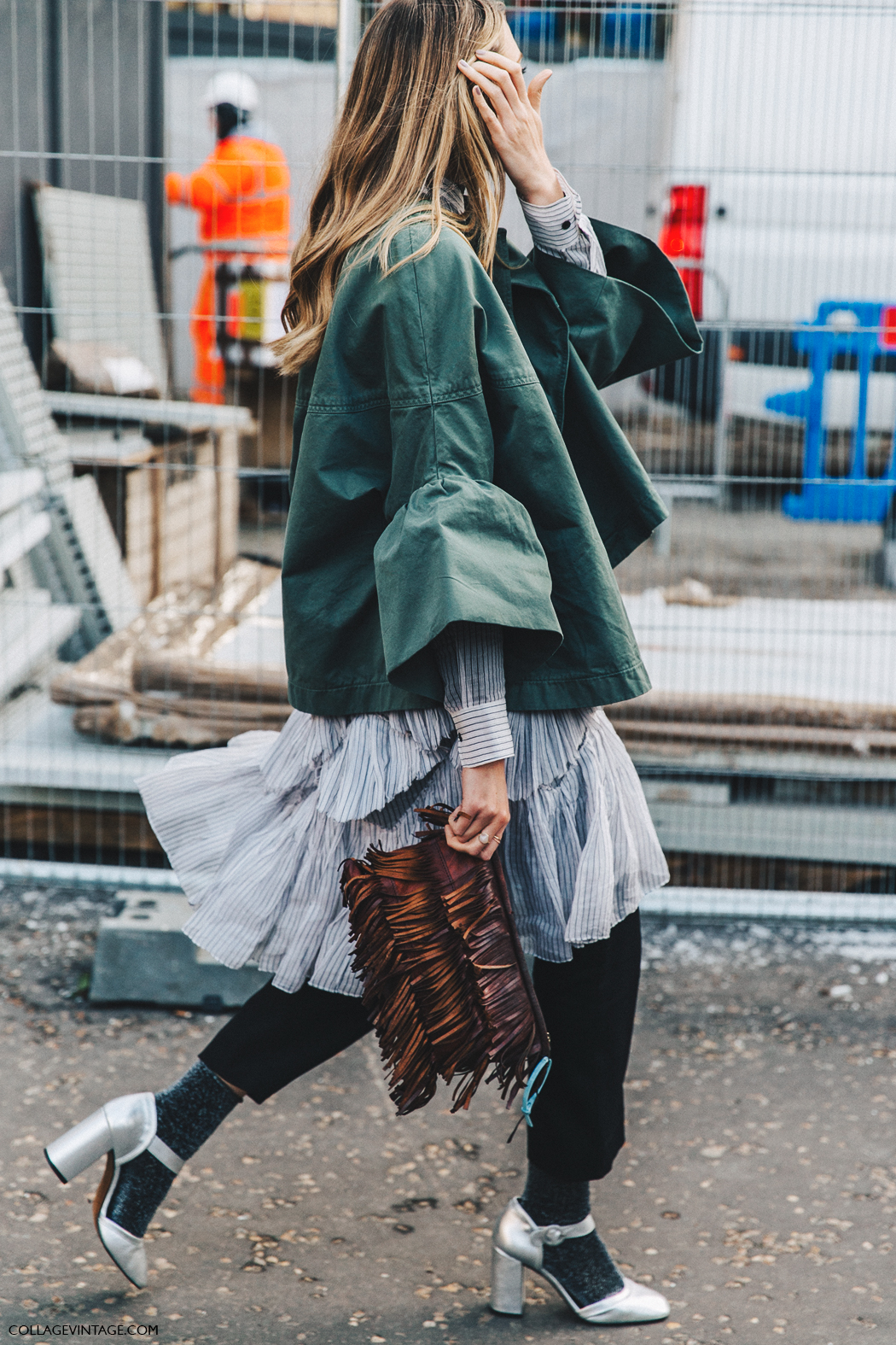 LFW London Fashion Week Fall 16 Street Style Collage Vintage Ruffled Outfit Silver Shoes Mettalic Glitter Socks