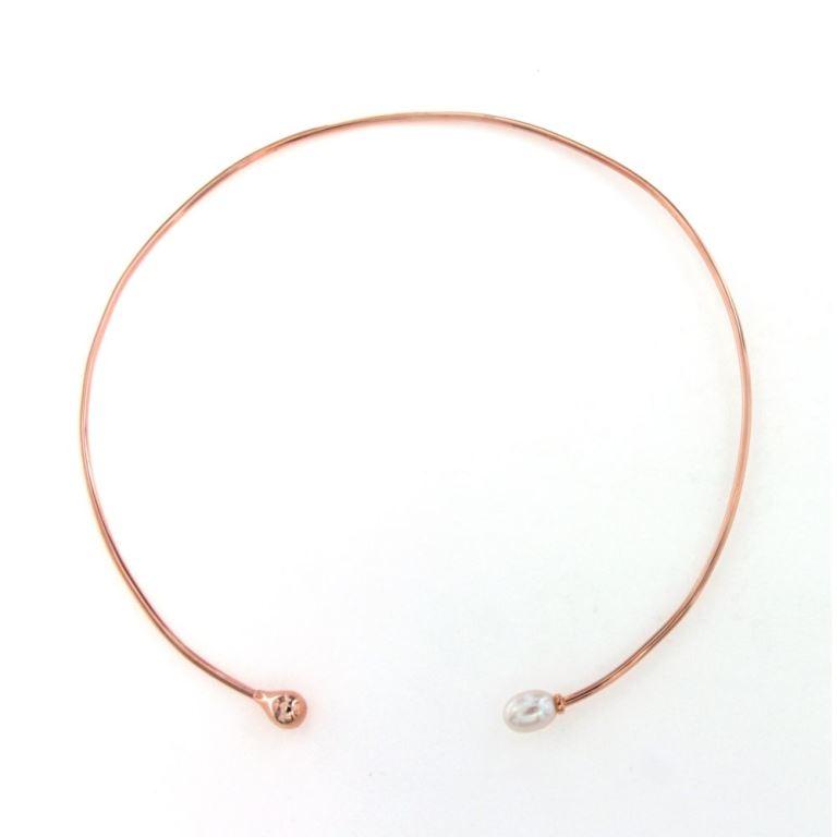 Chocker Necklace από ασημί και πέρλα σε ροζ επιχρύσωμα