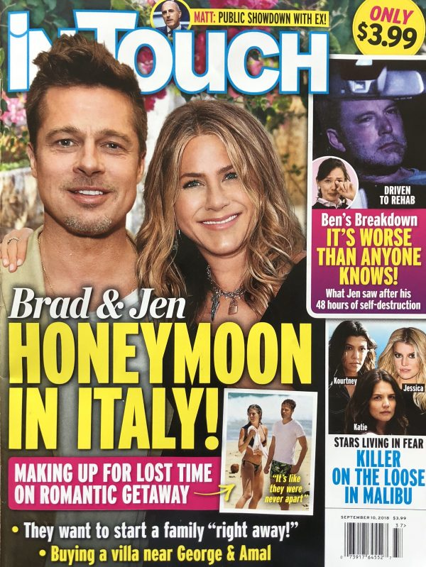 Brad Pitt Jennifer Aniston Honeymoon Italy 600x799 1