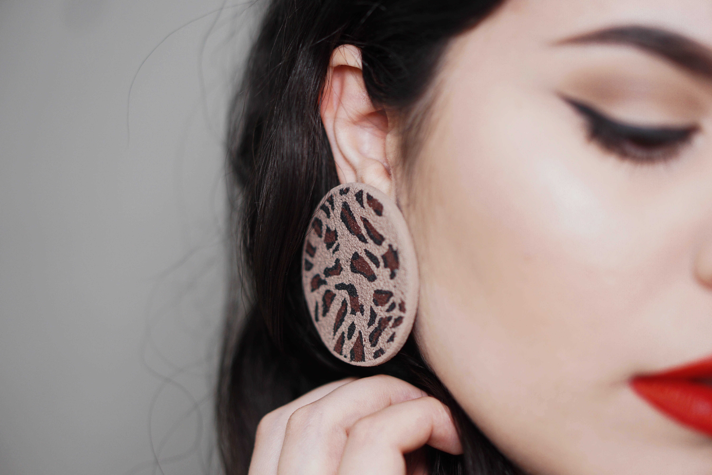 LimeLight by Katerina Sfinari animal print eccentric stud earrings